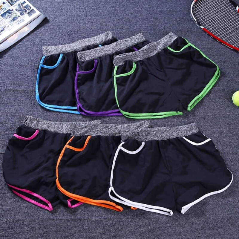 寬松透氣 瑜伽短褲女跑步速乾休閒防走光健身褲口袋