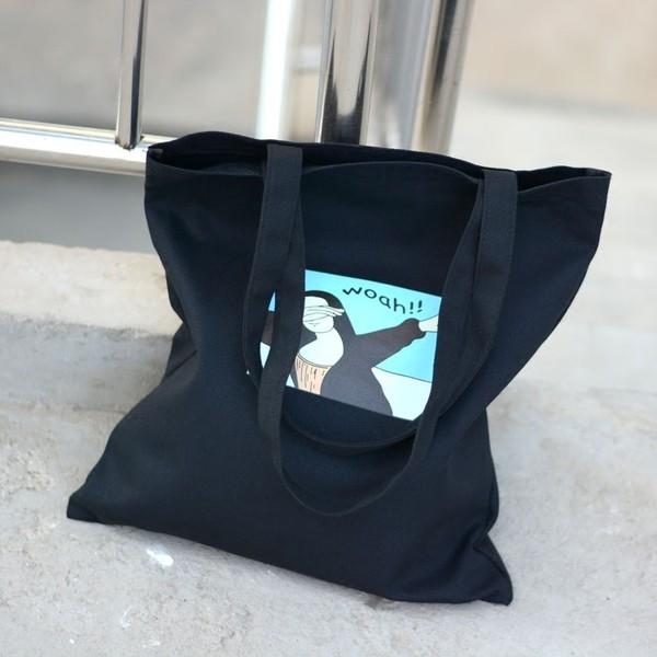 ~ 不用等~韓國原創卡通插畫環保袋小清新帆布包女單肩包學生折疊便攜 袋環保袋有拉鍊