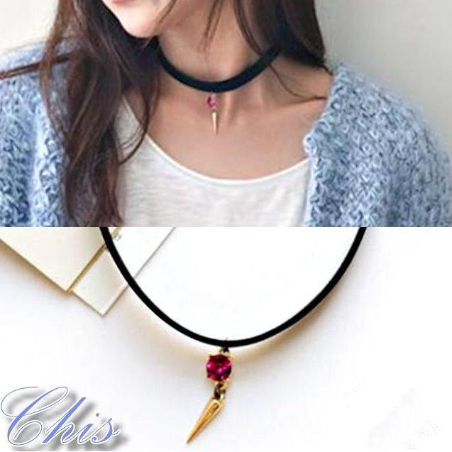 Chis Store ~金屬點綴水鑽吊飾頸鍊~韓國她很漂亮同款飾品短項鍊頸圈項圈鎖骨鏈聖誕