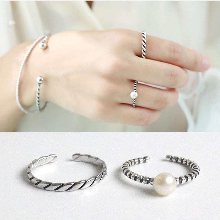三件起拍可混拍 價包郵韓國S925 純銀 復古圓珠面天然淡水珍珠開口戒指