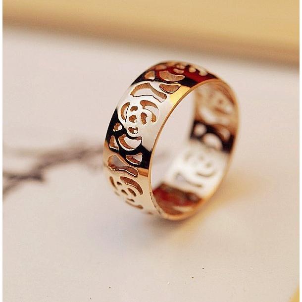 ~月晶鑽~玫瑰金色唯美縷空花戒指 情侶戒指