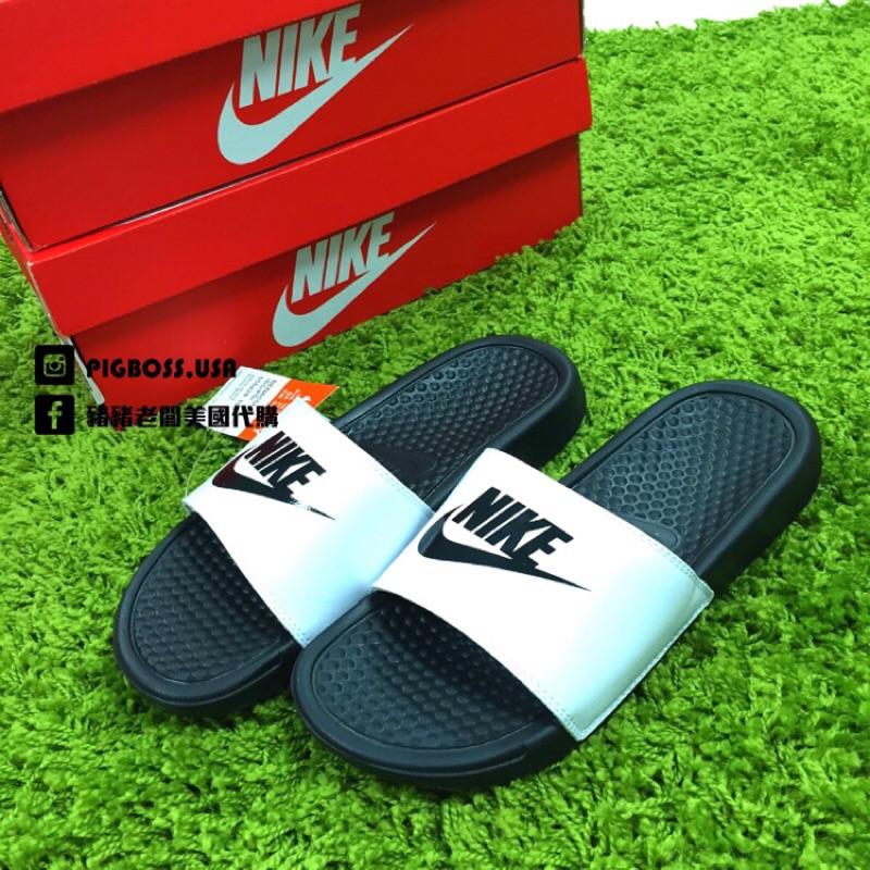 ~豬豬老闆~Nike Benassi Jdi 白底黑字拖鞋男女鞋23cm 29cm