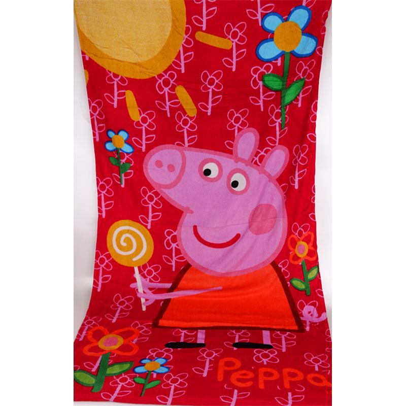 佩佩豬粉紅豬小妹大浴巾小蓋被140CM 70CM 紅色棒棒糖款