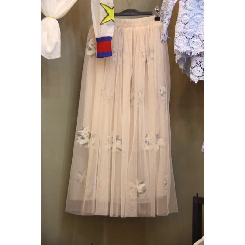 粉絲頁下單98 折起Lace window 蕾絲櫥窗正韓兩層紗刺繡花朵紗裙長裙fancyf