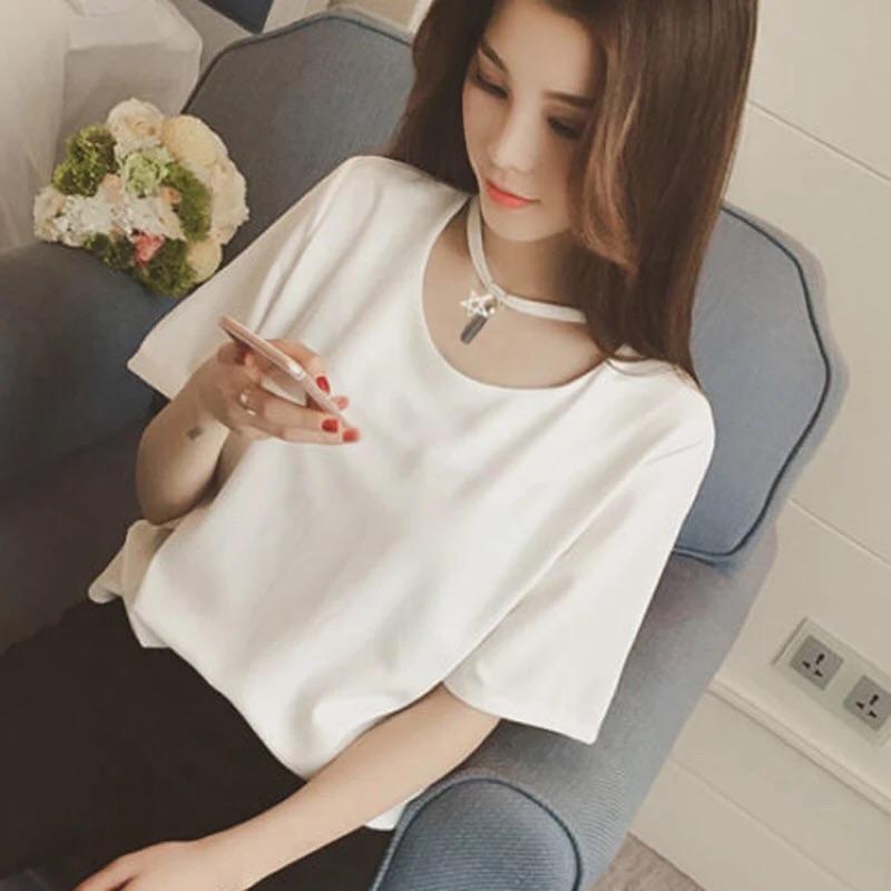✨韓國小性感領口鏤空白色素T 短袖百搭寬鬆上衣圓領流蘇項鍊t 恤女