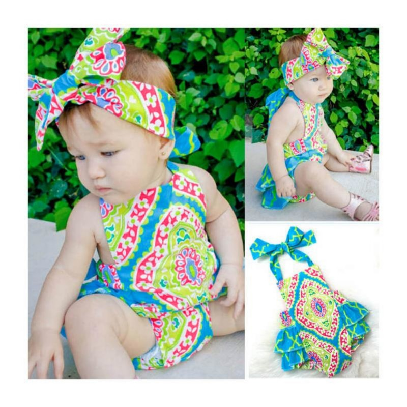 可愛的女孩公主服裝花卉印花緊身衣頭飾套裝女孩連身褲 服裝