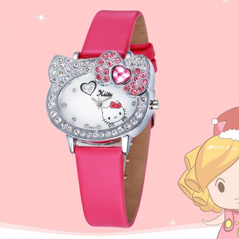 卡通Hello Kitty 水鑽女士 衣服手錶