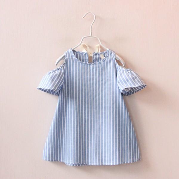 兒童露肩連衣裙條紋全棉短袖裙衫娃娃衫