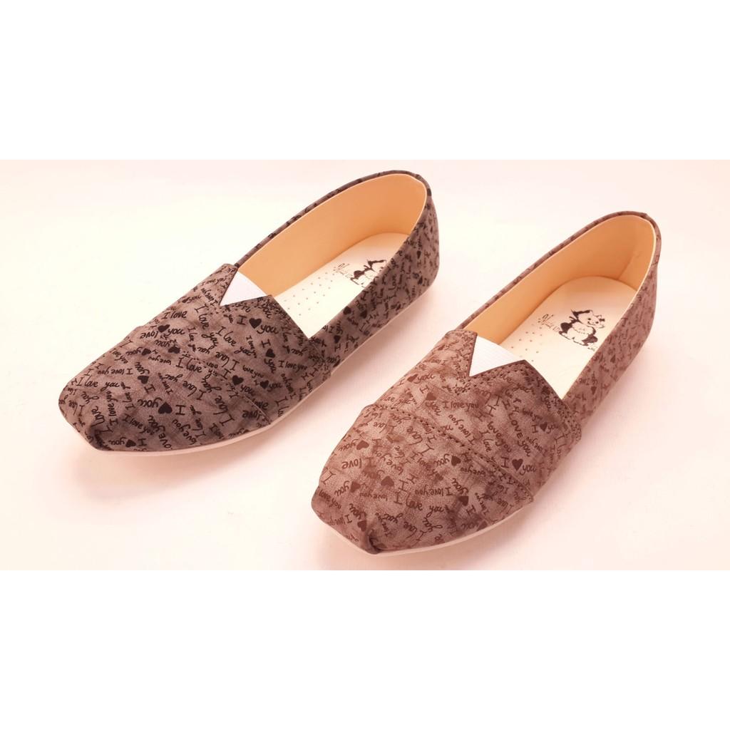 女款帆布鬆緊塗鴉平底豆豆鞋休閒百搭平底包鞋帆船鞋平底鞋娃娃鞋 黑咖啡