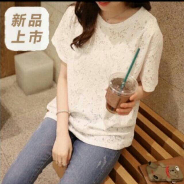 2017 春夏 滿版蕾絲上衣T 恤寬鬆