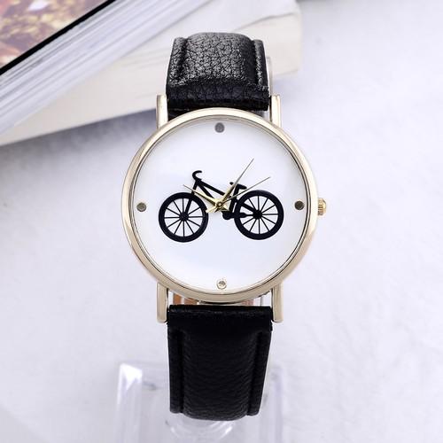 自行車圖案皮革錶帶的石英手錶男裝女裝男女皆宜的 腕錶