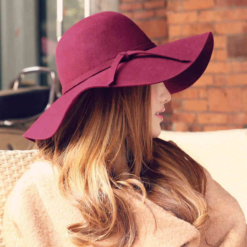 ~chiclady 新品~英倫范羊毛爵士帽羊毛呢禮帽韓國 英倫風巫女爵士帽 帽休閒帽寬簷帽