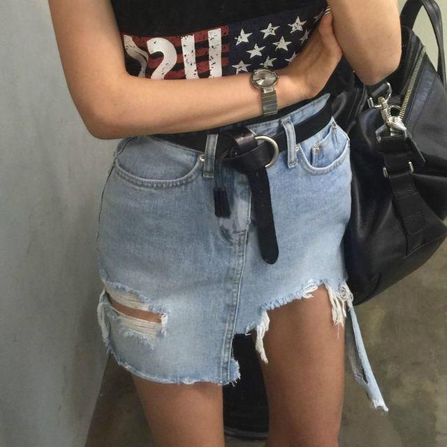 韓國潮流 不規則拉絲撕邊做舊破洞半身裙不規則牛仔裙短裙