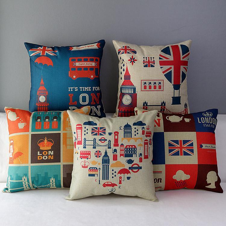 ~英倫倫敦熱氣球九宮格巴士士兵大笨鐘英國國旗厚棉麻抱枕抱枕套不含枕芯枕心zakka 小枕頭