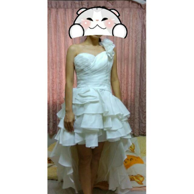 前短後長單肩花朵白色荷葉裙擺婚紗禮服