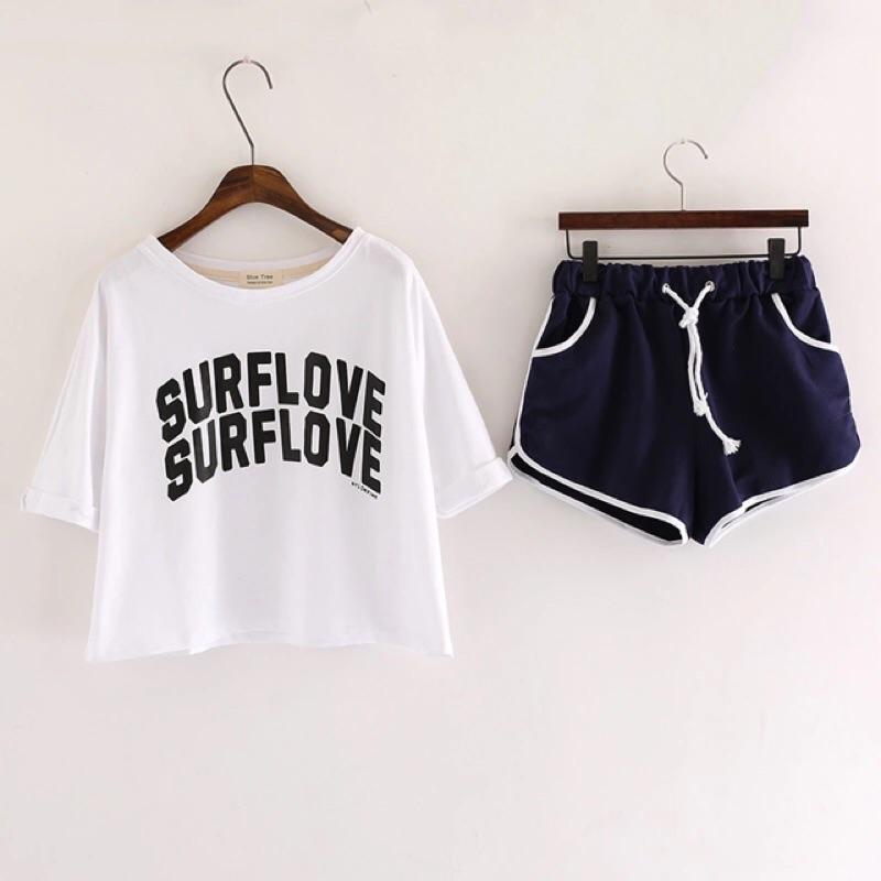 韓國官網同款兩件式英文字母捲邊五分袖圓領T 恤上衣抽繩 短褲套裝