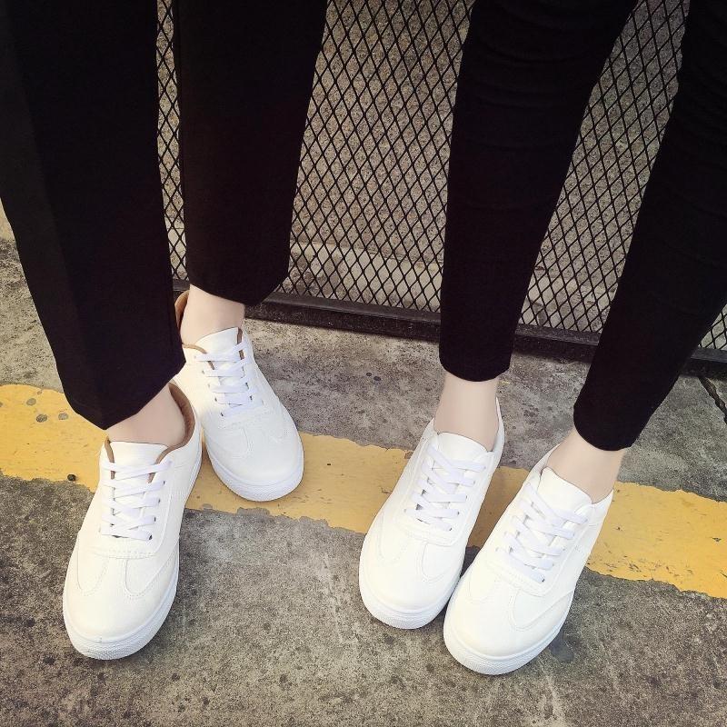 ~酷我 ~2016 春 透氣百搭小白鞋女鞋真皮系帶板鞋平底 情侶鞋 潮