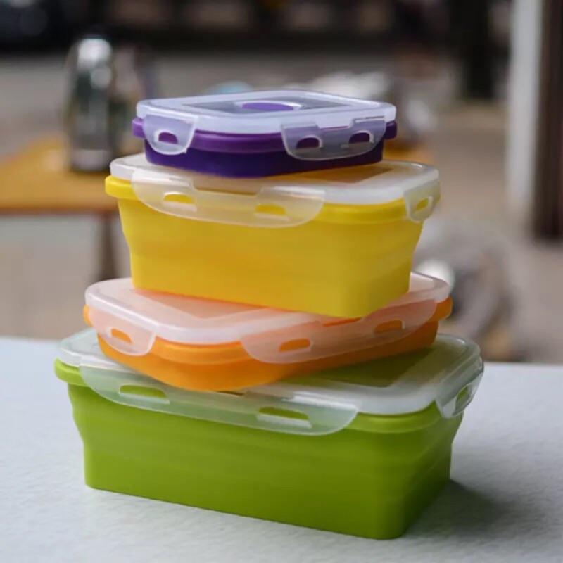 ~ ~食品級硅膠摺疊伸縮保鮮盒(彩色、透明)
