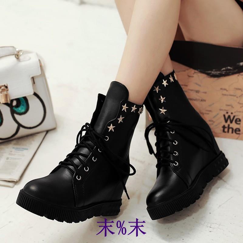 內增高短靴女厚底坡跟松糕馬丁靴子春秋單靴學生高幫平底 女鞋
