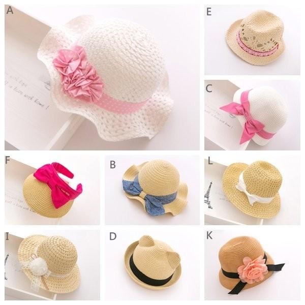 草帽編織帽花朵蝴蝶結緞帶點點漁夫帽遮陽帽子盆帽圓頂帽太陽帽牛仔帽童帽 春夏男童女 寶寶