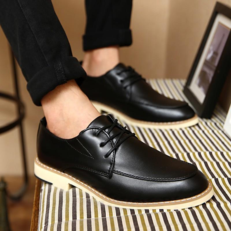 潮流指標正韓新品英倫風男士商務休閒皮鞋繫帶青年 男鞋子低筒潮鞋