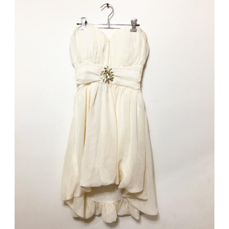 雪紡紗平口胸前抓皺水鑽前短後長浪漫洋裝