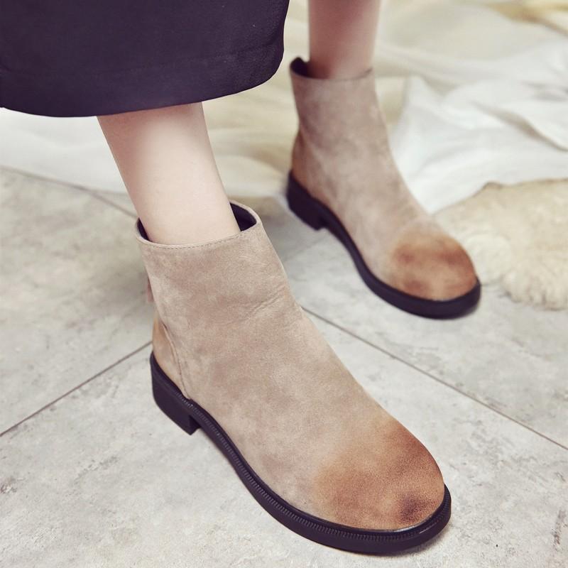 ❀潮百搭❀2016  擦色圓頭復古馬丁靴磨砂皮后拉鏈短靴低跟加絨靴子女