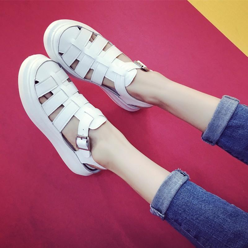 涼鞋女夏2016  女鞋透氣鏤空中跟平底鞋子 學生鞋潮女士涼鞋涼鞋平底涼鞋百搭涼鞋休閒涼鞋