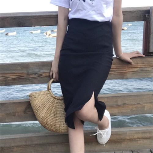 正韓女生衣著百搭氣質顯瘦修身高腰顯瘦OL 風顯身材小開叉半身裙