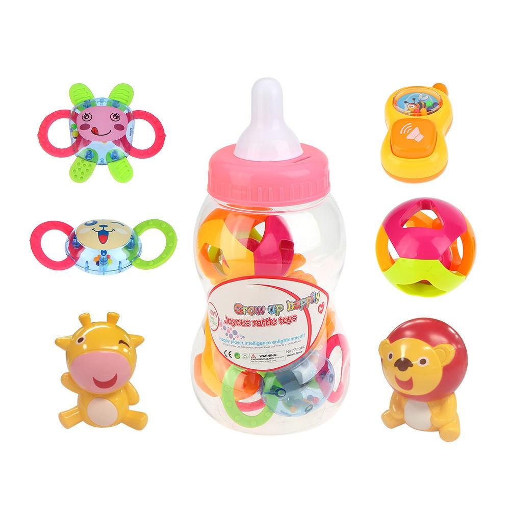 嬰兒早教搖鈴玩具 奶瓶套裝0 6 12 個月男女寶寶益智手搖鈴玩具