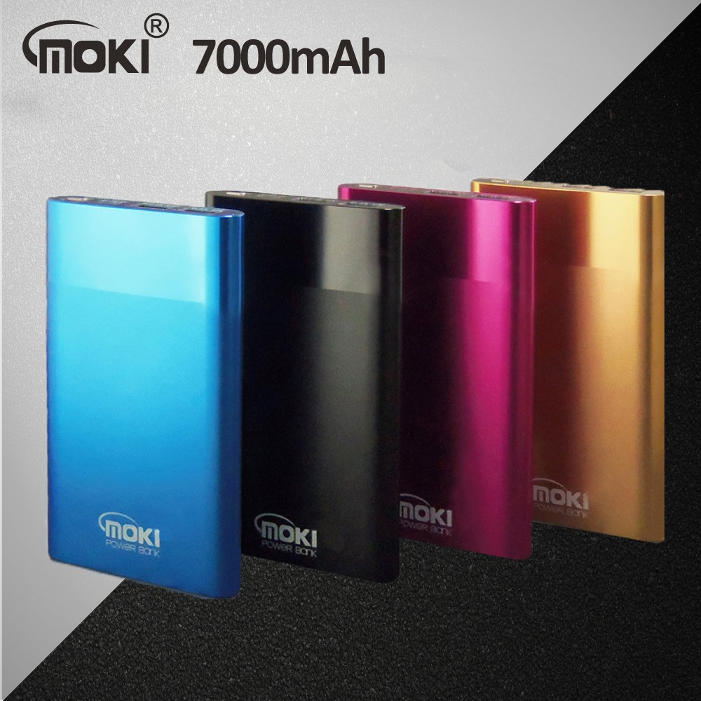 MOKI N7000 日韓系超薄鋰聚行動電源四色:藍、金、桃、黑