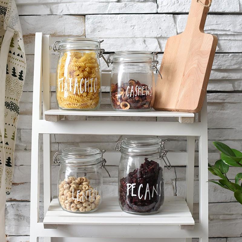 追花~北歐玻璃印字密封罐四款~蜂蜜檸檬罐奶粉茶葉儲物罐酵素瓶泡菜罐子