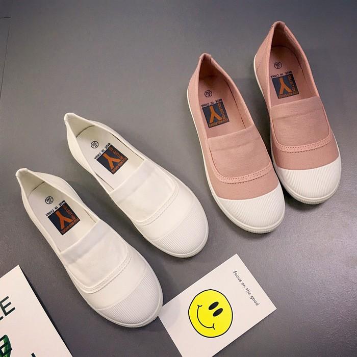 2017  小白鞋 平底休閒鞋純色淺口女鞋跟帆布鞋一腳蹬懶人鞋舒適透氣防滑超可愛森系女鞋