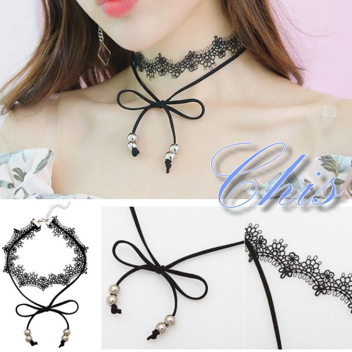 Chis Store ~珠珠蝴蝶結層次蕾絲寬頸鍊~韓國花邊編織金屬圓珠點綴皮革麂皮頸圈項圈