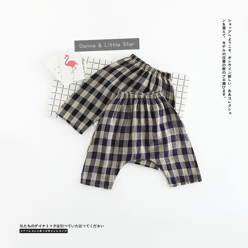 KD427 男童女童百搭 格子亞麻五分哈倫褲兒童棉麻短褲哈倫褲五分褲