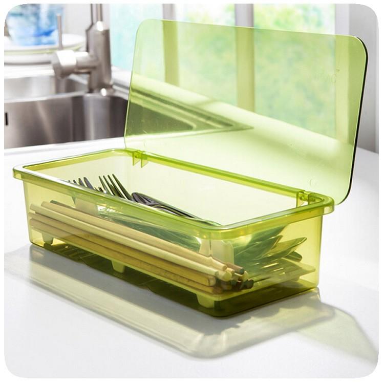 盒裝瀝水防塵餐具收納盒簡約 筷子盒廚房收納用品塑料筷籠