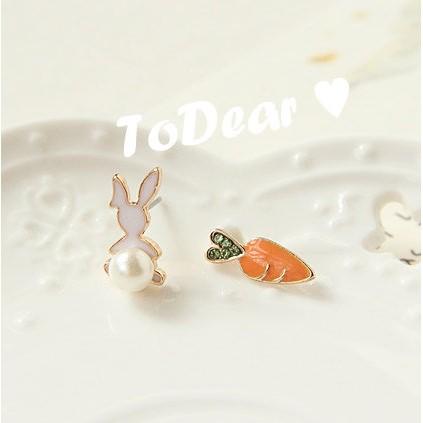 ToDear ♡日韓不對稱小兔子蘿蔔耳針耳環可愛動物
