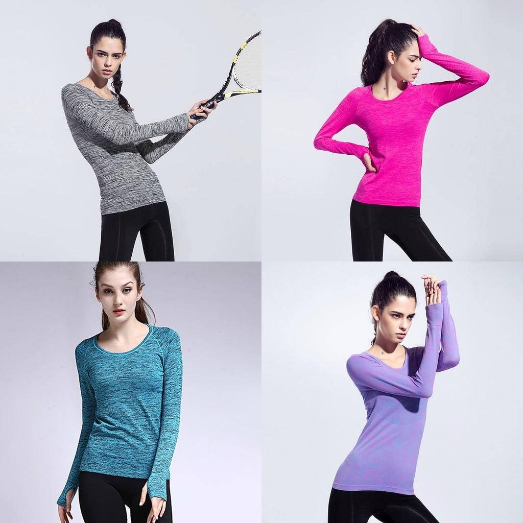 女生長袖 服女 上衣 衣透氣速乾快乾排汗顯瘦瑜珈慢跑路跑重訓