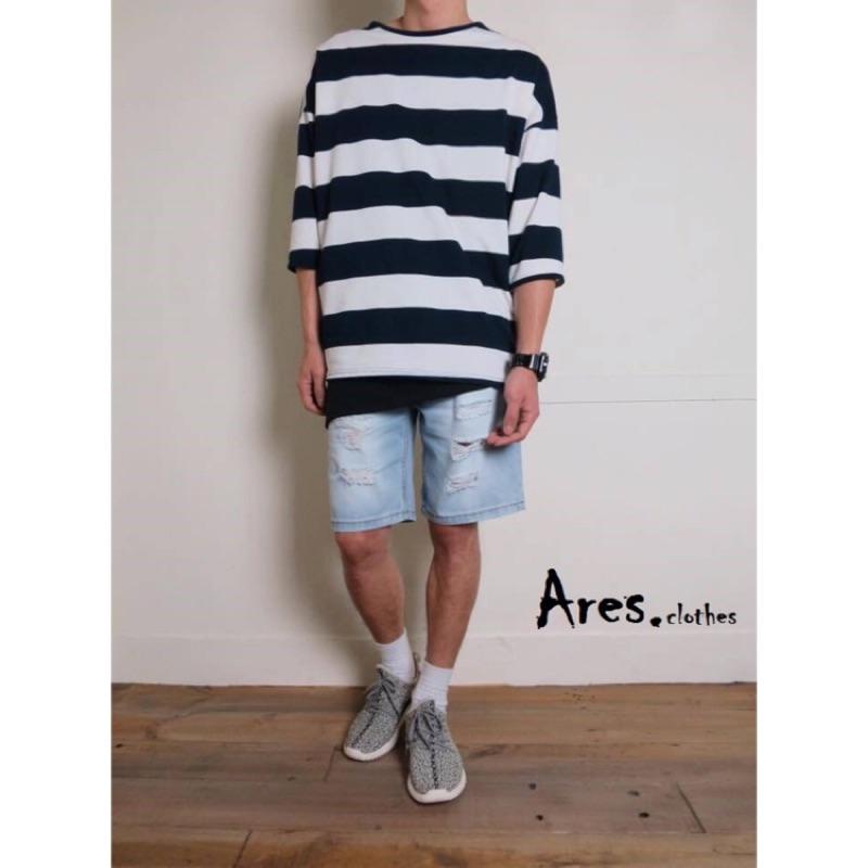 簡約寬條紋寬鬆休閒彈性棉質下擺開衩口袋七分袖條紋短T 七分袖T 圓領條紋T 黑藍兩色