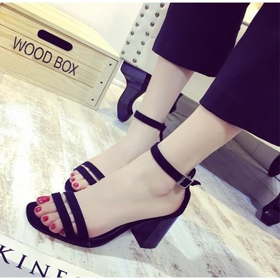 韓系一字扣羅馬涼鞋高跟鞋露趾性感粗跟女鞋黑色