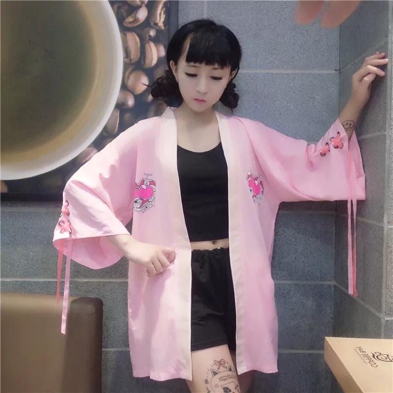 (黑色)‼️原宿印花口袋樱桃少女罩衫外套