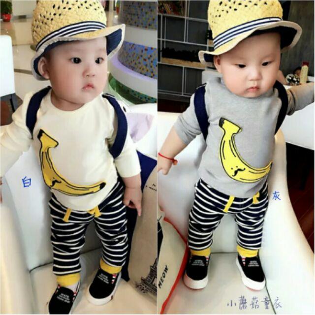 [  ]可愛立體香蕉 上衣條紋褲子套裝