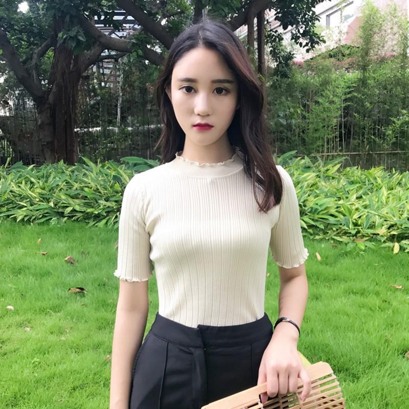 實拍韓妞 學院風韓系修身顯瘦百搭女士圓領短袖針織衫薄款針織冰絲打底衫