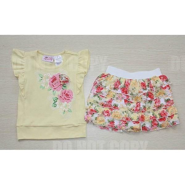 媽咪樂美單花朵蕾絲裙褲二件組套裝上衣蛋糕褲裙5T 6T
