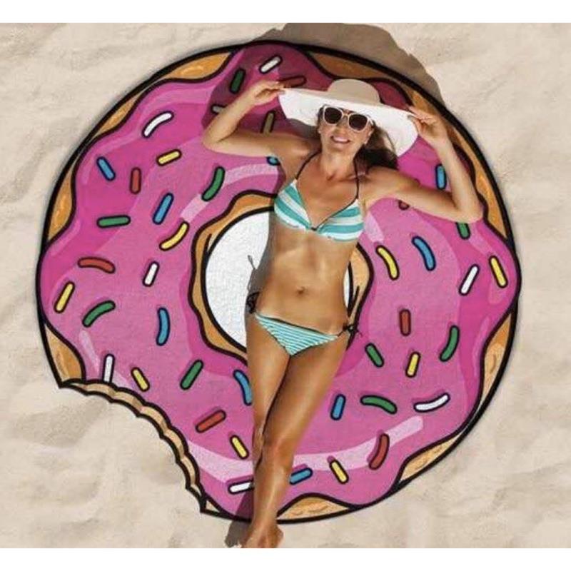 今夏海邊 !漢堡、披薩、甜甜圈沙灘巾、沙灘墊、浴巾、野餐墊