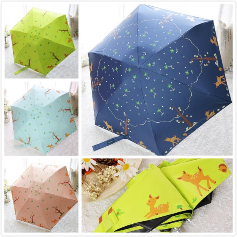可愛小鹿超輕五折黑膠防曬晴雨兩用傘超可愛又輕便的晴雨兩用傘輕便好攜帶顏色粉、綠、深藍、淺藍