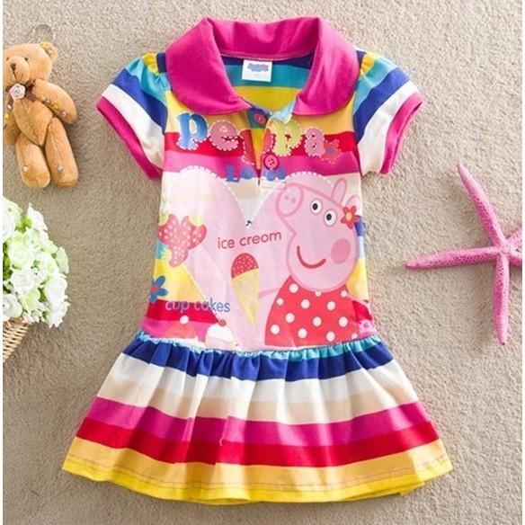 季節小舖 peppa pig 佩佩豬粉紅豬小妹條紋裙擺草莓佩佩豬款桃紅色裙子橘色女童連身裝