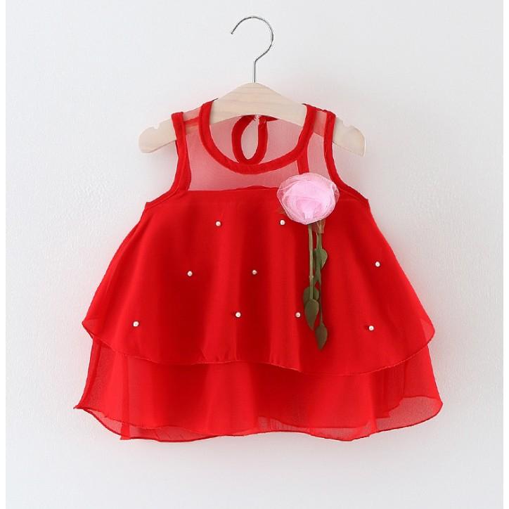 女童嬰兒寶寶花朵連身裙滿月周歲大红禮服鏤空蕾絲洋裝