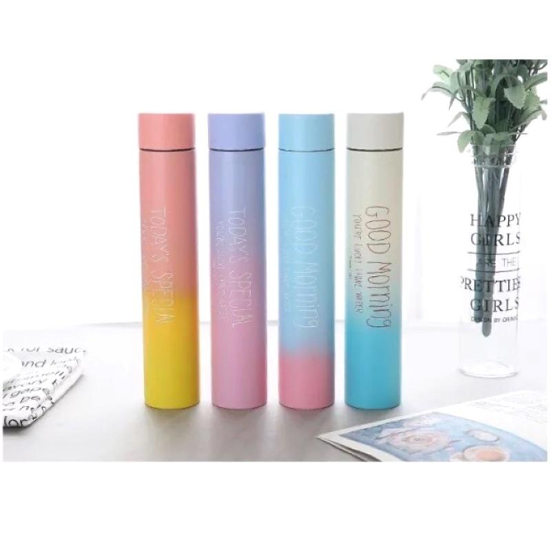 細長漸層色保溫杯韓國 可愛簡約 不鏽鋼直身杯隨行杯保溫瓶