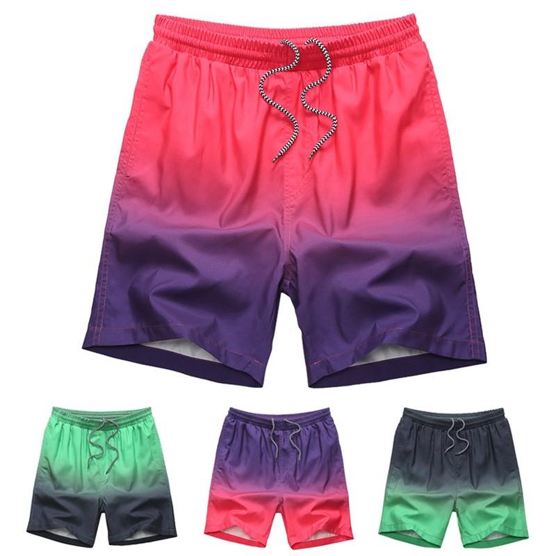 漸變色 短褲寬鬆大碼五分褲沙灘褲韓系 褲速干跑步褲WD0106